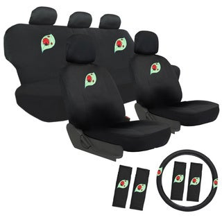Oxgord Cute Lady Bug 17-piece Car Seat Covers Set with Steering Wheel Cover