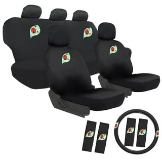 Cute Lady Bug 17-piece Car Seat Covers Set with Steering Wheel Cover