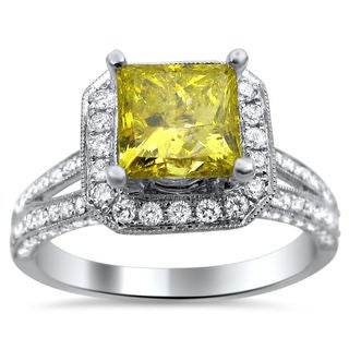 18k White Gold 2.20ct TDW Certified Yellow and White Diamond Princess Cut Ring