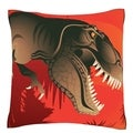 Prehistoric Dinosaur 18-inch Square Velour Throw Pillow