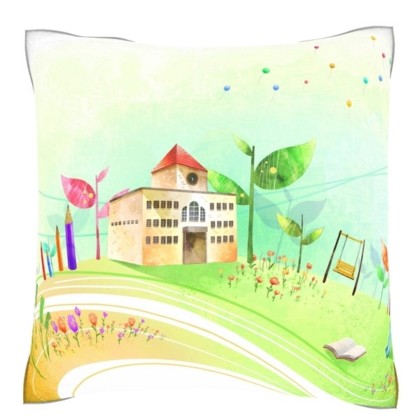School Exterior 18-inch Square Velour Throw Pillow
