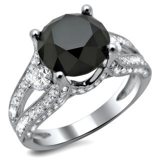 18k White Gold 4 1/3ct TDW Certified Black and White Round Diamond Ring