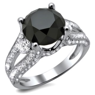 18k White Gold 4ct TDW Certified Black and White Round Diamond Ring