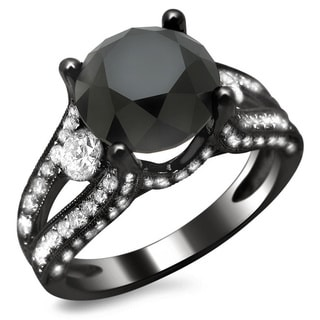 18k Black Gold 4 1/3ct TDW Certified Black and White Round Diamond Ring