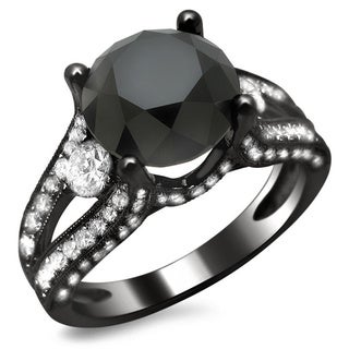 18k Black Gold 4ct TDW Certified Black and White Round Diamond Ring