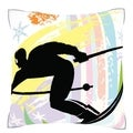Downhill Skiing Snow Mountain 18-inch Velour Throw Pillow