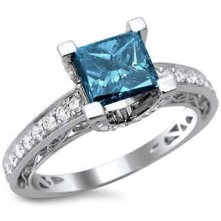 18k White Gold 1.85ct TDW Certified Blue and White Diamond Princess Cut Ring