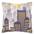 Sunset Over Downtown City Skyline 18-inch Velour Throw Pillow