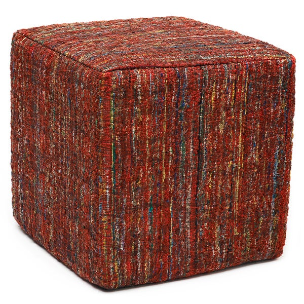 Rusa Ruby Red Sari Pouf Cube Ottoman