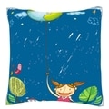 Girl Holding Bulb Switch in Monsoon 18-inch Velour Throw Pillow
