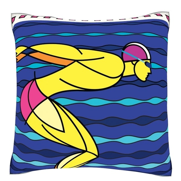 Diver in Diving Position 18-inch Velour Throw Pillow