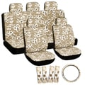 Hawaii Beige / Tan 17-piece Seat Cover Set with Hawaiian Hibiscus Flowers