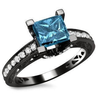 18k Black Gold 1.85ct TDW Certified Blue and White Diamond Princess Cut Ring
