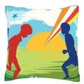 Children Playing Soccer 18-inch Velour Throw Pillow