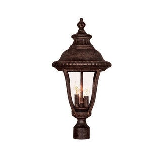 Acclaim Lighting Windsor Collection Post-Mount 3-Light Outdoor Black Coral Light Fixture