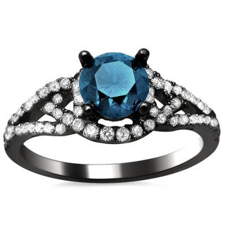 18k Black Gold 1.27ct TDW Certified Blue and White Round Diamond Ring