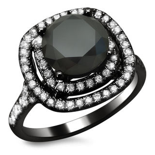 18k Black Gold 2 1/2ct TDW Certified Double Halo Black and White Diamond Ring