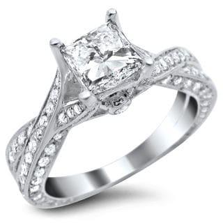 Noori 14k White Gold 1.82ct TDW Certified Princess Cut Diamond Ring