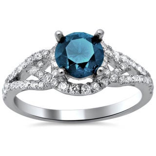 18k White Gold 1.27ct TDW Certified Blue and White Round Diamond Ring