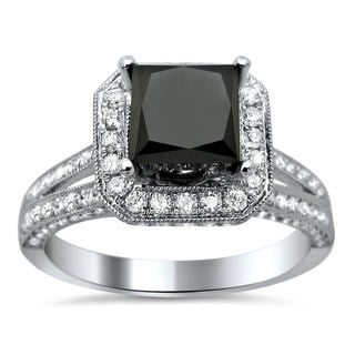 18k White Gold 2.85ct TDW Certified Princess Cut Black and White Diamond Ring