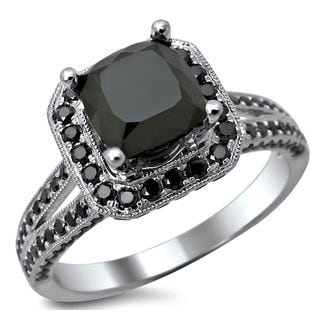 14k White Gold 2.80ct TDW Certified Black Cushion Cut Diamond Ring