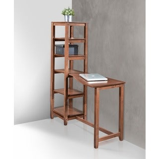 International Caravan Hamburg Contemporary Desk with 5-tier Bookshelf