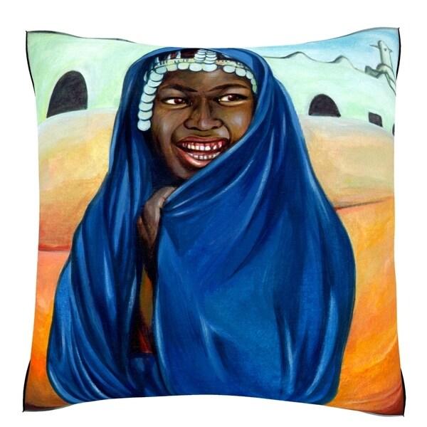 Shrouded Woman Smiling in Desert 18-inch Velour Throw Pillow