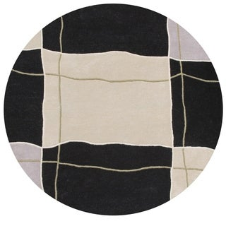 Alliyah Rugs Handmade Hand-tufted Black/ Grey FLoating Squares New Zealand Blend Wool Rug (6')