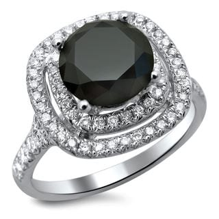 18k White Gold 2.50ct TDW Certified Double Halo Black and White Diamond Ring