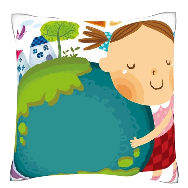Girl Loving the Earth 18-inch Velour Throw Pillow