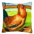 Rooster on Farm 18-inch Velour Throw Pillow