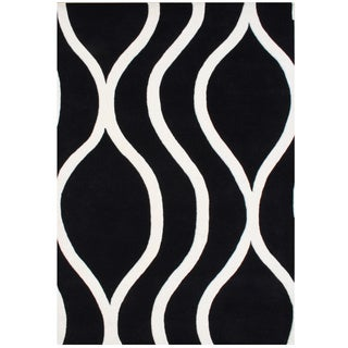 Handmade Alliyah Black/ Off-white New Zealand Blended Wool Rug (8' x 10')