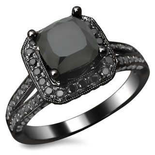 14k Black Gold 2.80ct TDW Certified Black Cushion Cut Diamond Ring
