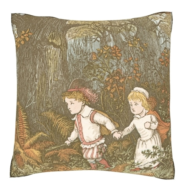 'Babes in the Wood' Fairy Tale 18-inch Velour Throw Pillow