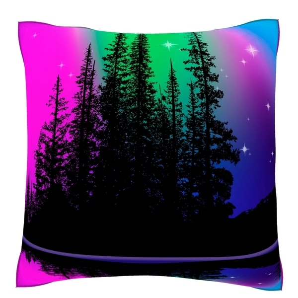 Northern Lights Over Alpine Lake 18-inch Velour Throw Pillow