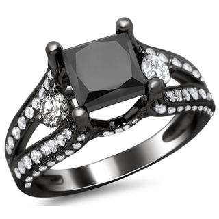 18k Black Gold 3.30ct TDW Certified Black Princess Cut and Round Diamond Engagement Ring