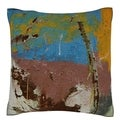 Abstract Yellow/ Blue/ Green 18-inch Velour Throw Pillow