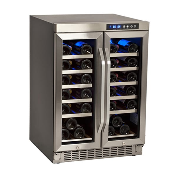 EdgeStar 36-bottle Built-in Dual-zone French Door Wine Cooler