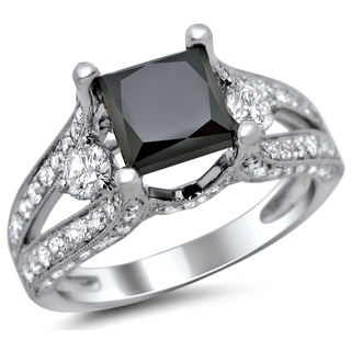 18k Gold 3.30ct TDW Certified Black Princess Cut 3 Stone Round Diamond Engagement Ring