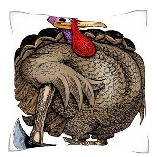 Turkey Posing with Axe 18-inch Square Throw Pillow