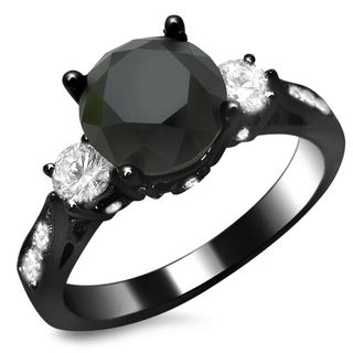 18k Black Gold 2 1/2ct Certified Black and White Three-Stone Diamond Ring