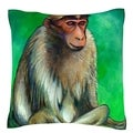 Portrait of Macaque Monkey 18-inch Velour Throw Pillow