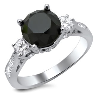 18k White Gold 2 1/2ct Certified Black and White Diamond Three-Stone Ring