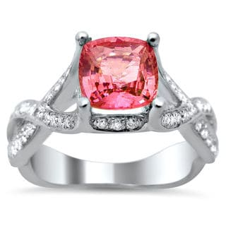18k White Gold 2.05ct TDW Certified Cushion Cut Diamond and Pink Sapphire Ring