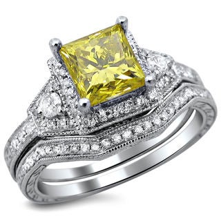 14k White Gold 1.60ct TDW Certified Princess Cut Yellow Diamond Bridal Set