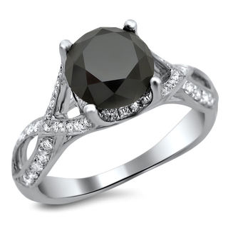 18k White Gold 3ct TDW Certified Black Round Diamond Twisted Ring