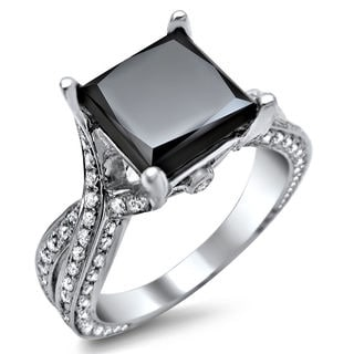 14k White Gold 3.90ct TDW Certified Black Princess Cut Diamond Ring