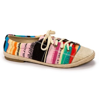 Muk Luks Women's 'Paige' Blue Striped Canvas Sneakers
