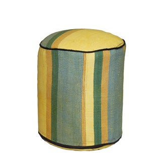 Decorative Kilim Beige/Blue/Yellow Wool Ottoman