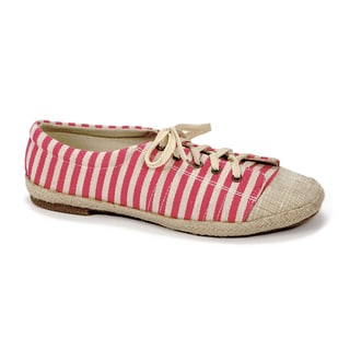 Muk Luks Women's 'Paige' Pink Striped Canvas Sneakers
